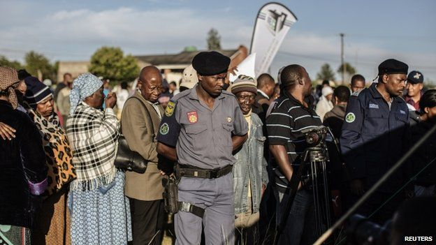 South African policeman observe at Lesotho's elections