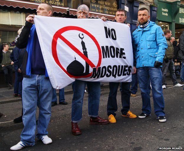 Protesters gathered at the Pegida UK rally