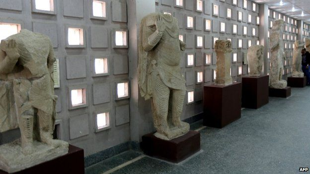 Artefacts coming from the Mosul area on display at the Iraqi Museum