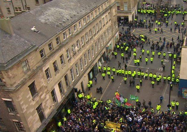 Aerial view of Pegida and anti-Pegida demonstrations
