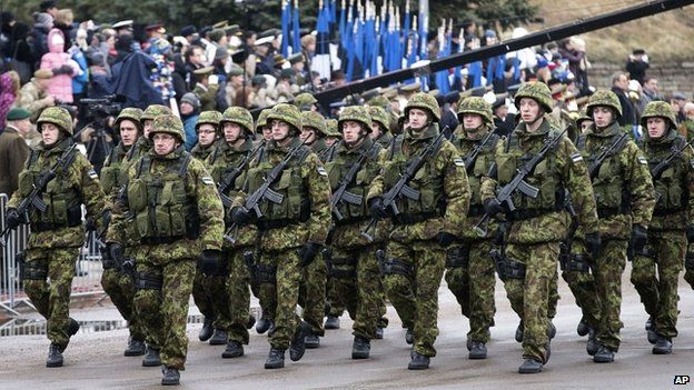 Estonian troops parade in Narva, Estonia - 24 February 2015