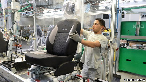 Worker in car assembly factory