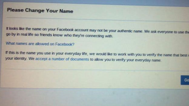 Facebook saying name not allowed