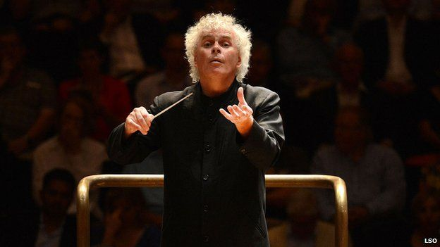 Sir Simon Rattle conducts the LSO in the Barbican Hall in 2012