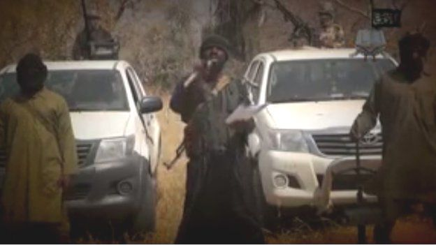 Grainy video of Shekau with spelling mistakes in opening sequence