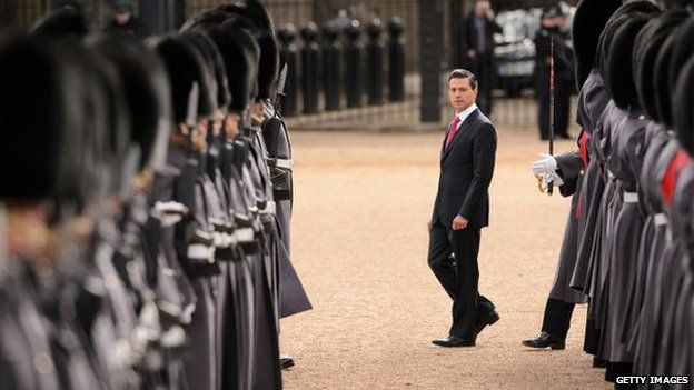 Mexican President Enrique Pena Nieto inspects soldiers at Horse Guards Parade
