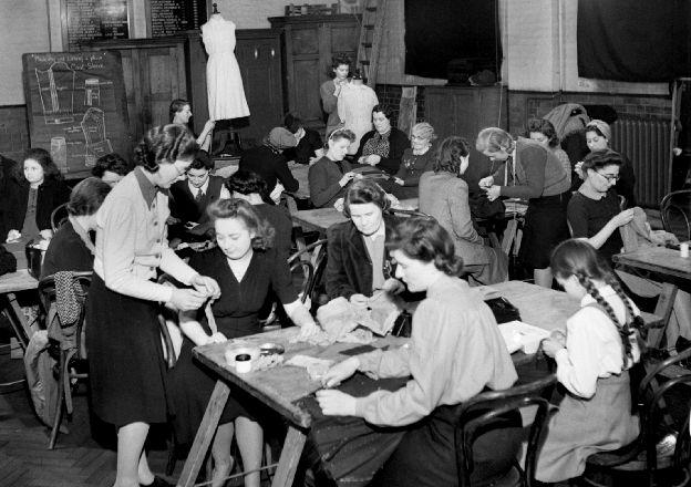 Dress-making class, London, 1943