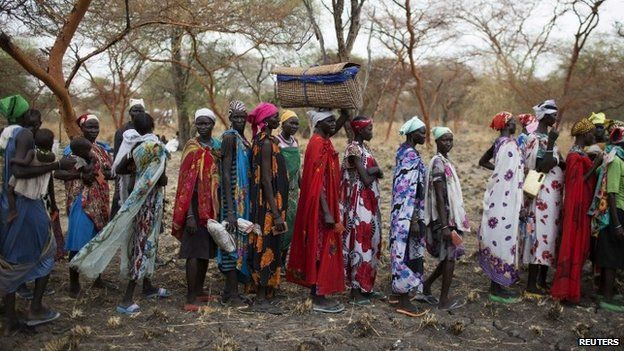 Women are screened for malnutrition at a UN clinic in northern Jonglei, South Sudan (03 March 2015)