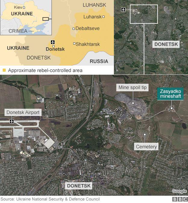 BBC map showing site of Ukraine mine