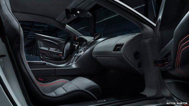 Interior of Aston Martin's vintage car