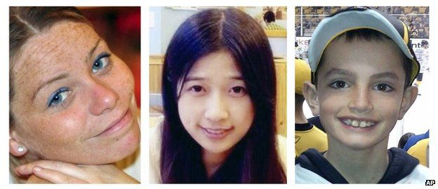 From left: Krystle Campbell Lu Lingzi and Martin Richard