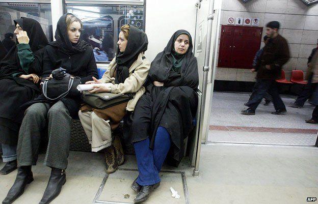 Women sitting on metro