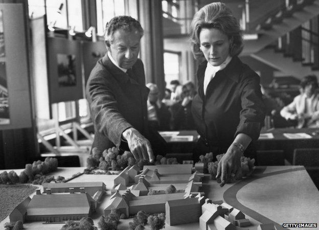 Benjamin Britten and Prudence Penn with a model of the Snape Maltings Concert Hall, 14th May 1970
