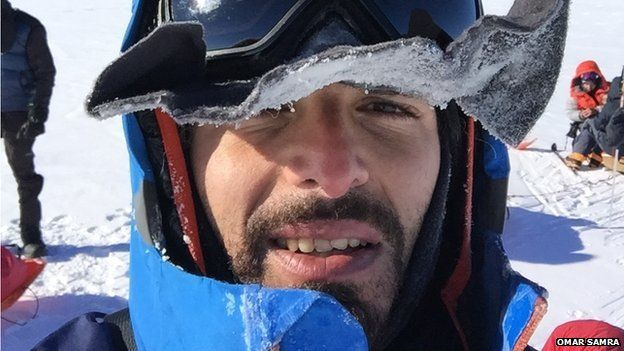 Omar Samra taking a selfie while trekking to the South Pole last year