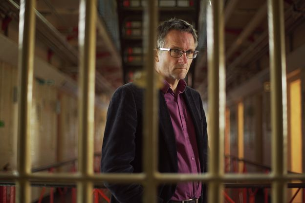 Michael Mosley pictured behind bars