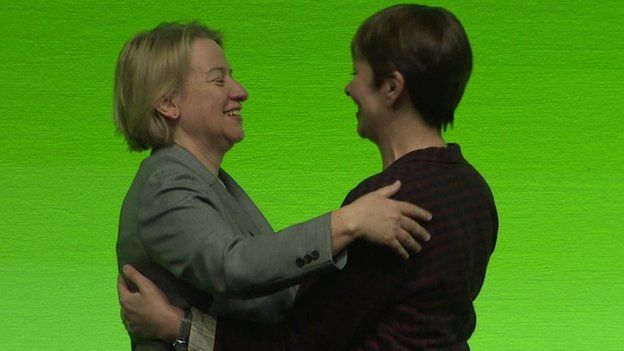 Green Party leader Natalie Bennett and her predecessor Caroline Lucas