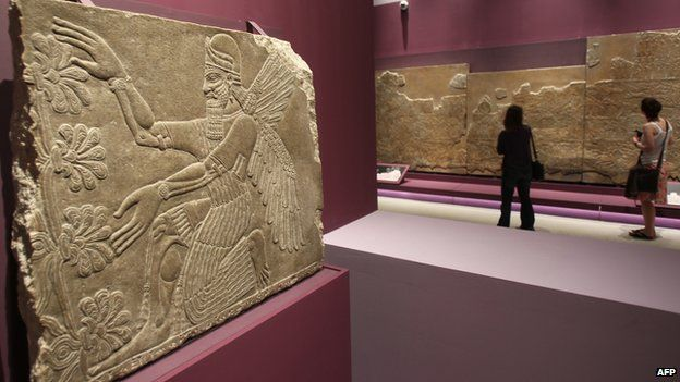 A view of one of the many archaeological pieces from the Babylonian period showing a protective spirit from Nimrud from around 875-860 BC during an exhibition in Abu Dhabi in 2011