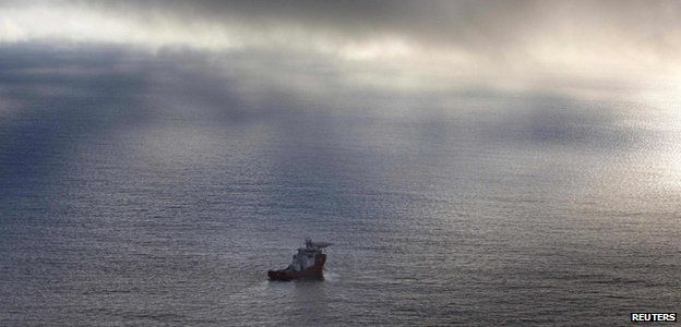 The Australian defence vessel Ocean Shield searches the Indian Ocean, April 2014