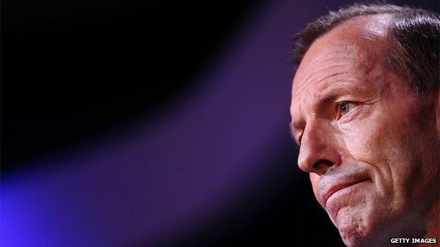 Prime Minister Tony Abbott looks on during his speech on National Security at the Australian Federal Police headquarters on February 23, 2015 in Canberra,