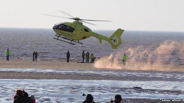 Air ambulance at Hunstanton beach