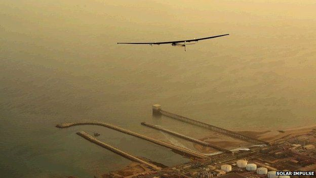 Solar Impulse heads out over the Arabian Sea