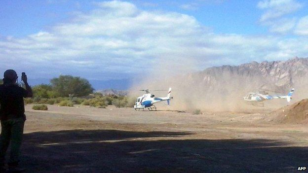 Two helicopters take off in La Rioja province