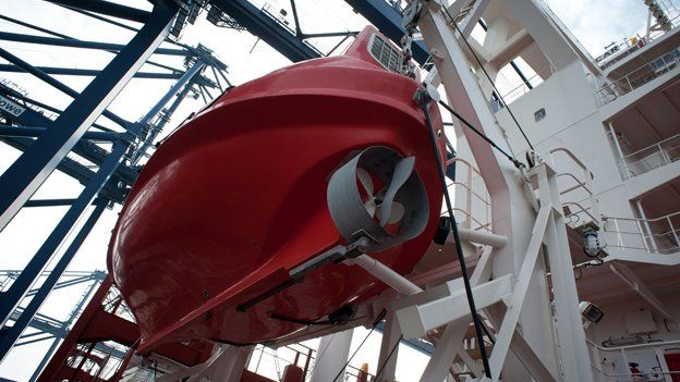 Lifeboat suspended on boat