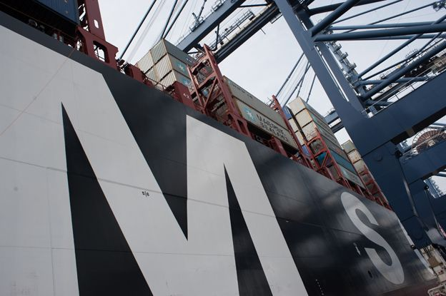 side of ship showing massive letter M