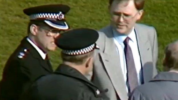 Ch Supt David Duckenfield on the pitch at Hillsborough in 1989