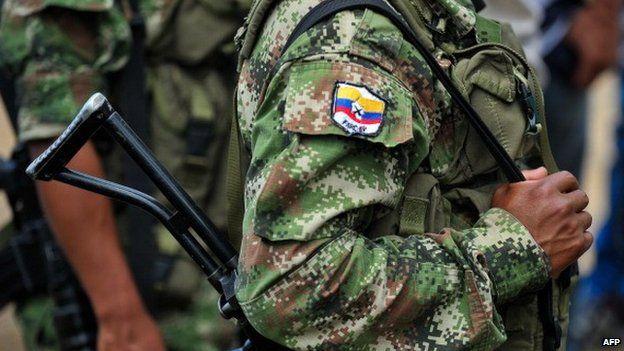 A Farc rebel in a mountainous region of Colombia