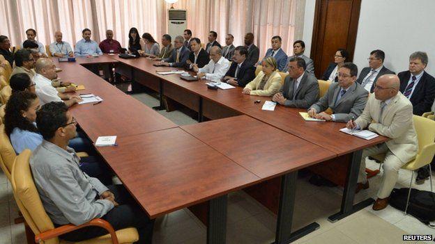 Colombian and Farc negotiators in Havana