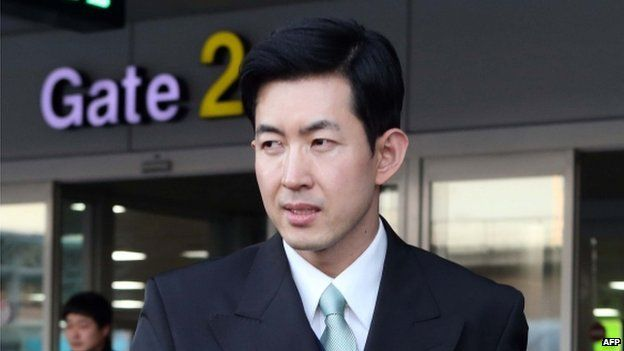 This picture taken on 1 February 2015 shows Korean Air chief purser Park Chang-Jin at Gimhae airport in Busan.