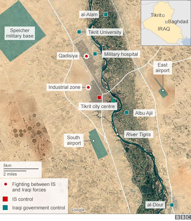 map showing iraqi government operation to retake tikrit 11 march 2015