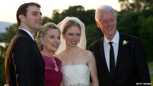 In this handout image provided by Barbara Kinney, (Left to Right) Marc Mezvinsky, US Secretary of State Hillary Clinton, Chelsea Clinton and former US President Bill Clinton pose during the wedding of Chelsea Clinton and Marc Mezvinsky in Rhinebeck, New York July 2010
