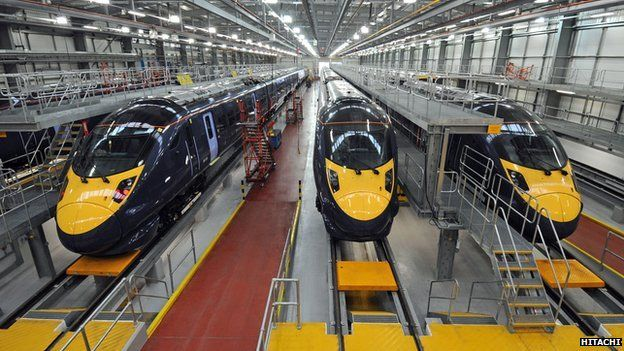 The Javelin trains in the Train Maintenance Centre in Ashford, Kent.