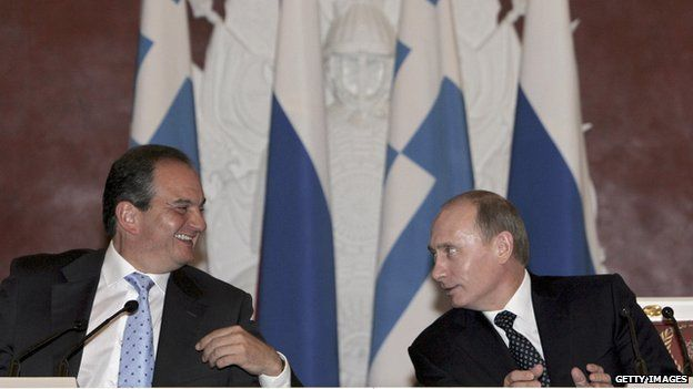 Costas Karamanlis with Vladimir Putin in Moscow in April 2008