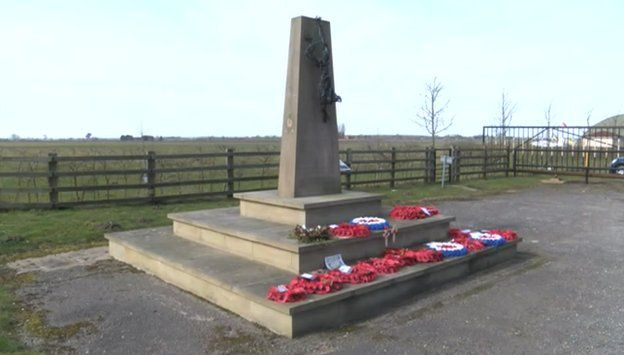 The memorial at the former RAF Wickenby