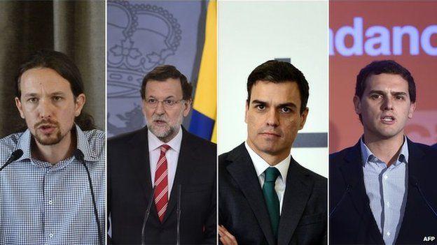 (L to R) Leader of Podemos, Pablo Iglesias, Spanish Prime Minister, Mariano Rajoy, Secretary general of Spanish Socialist Party (PSOE) Pedro Sanchez, and President of centre right party Ciudadanos (Citizens) Albert Rivera