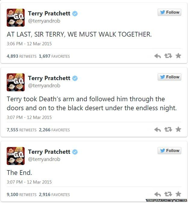 Terry Pratchett tweets