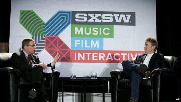Senator Rand Paul on stage with Evan Smith at South by Southwest in Austin