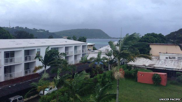 Looking out into the harbour as tropical cyclone Pam approaches Vanuatu, at Port Vila on 13 March 2015