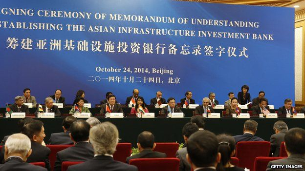 Representatives of Asian nations attend the signing ceremony for the Asian Infrastructure Investment Bank in Beijing