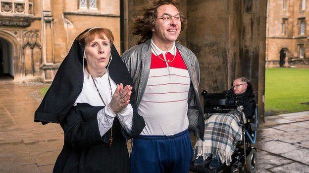 Catherine Tate, David Walliams and Professor Stephen Hawking