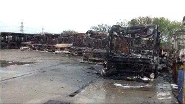 Fire at bus depot