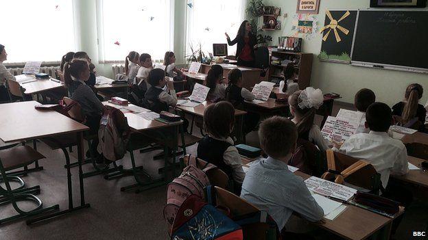 Children at a school in Crimea