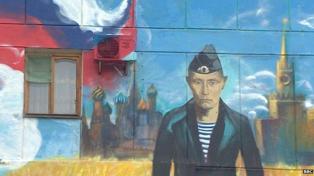 Putin wall mural in Sevastopol