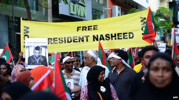Supporters of Mohamed Nasheed protest against his detention in Male - 27 February 2015