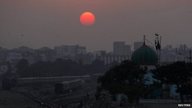 View of Karachi at sunset 31 December 2014