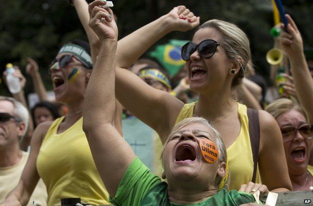 Anti-Rousseff protest in Sao Paulo, 15 March