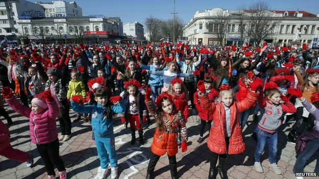 Children take part in event marking annexation of Crimea by Russia in Simferopol. 14 March 2015